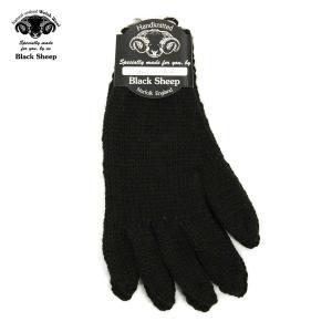 ブラックシープ BLACK SHEEP メンズ 手袋 HAND MADE 5FINGER KNIT GLOVE SM07B JET|mixon