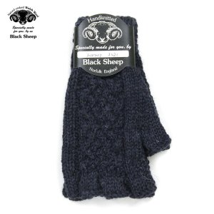 【エントリーで5%付与 4/6 0:00〜4/9 23:59】 ブラックシープ BLACK SHEEP メンズ 手袋 HAND MADE FINGERLESS CABLE KNIT GLOVE SB08B DENIM MIX|mixon