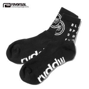 【エントリーで5%付与 4/6 0:00〜4/9 23:59】 リバーサル ソックス メンズ 正規販売店 REVERSAL 靴下 ソックス ロゴデザイン BSS SOCKS rv19aw027 BLACK mixon