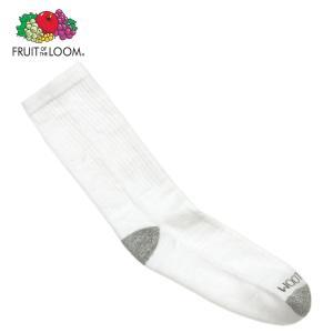 フルーツオブザルーム ソックス メンズ 正規品 FRUIT OF THE LOOM 靴下 クルー丈靴下 MEN'S CREW SOCKS WHITE M7110W6Z Size.7-12|mixon