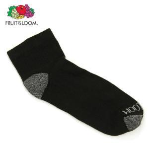 フルーツオブザルーム ソックス メンズ 正規品 FRUIT OF THE LOOM 靴下 フットカバー アンクルソックス MEN'S ANKLE SOCKS BLACK M7111B6/Z Size.7-12 BLACK|mixon