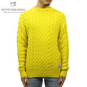 スコッチアンドソーダ セーター メンズ 正規販売店 SCOTCH&SODA クルーネックセーター WOOL COTTON-BLEND CREWNECK CABLEKNIT BARN YELLOW 152349 85407 41|mixon