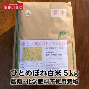 ひとめぼれ白米5kg農薬・化学肥料不使用栽培 miyagi-chisanchisho