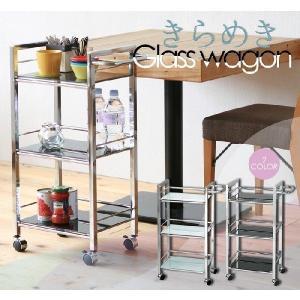 キッチンワゴン キャスター付き キッチン収納 ガラス製 美容室 お店 / ガラスワゴン3段|miyaguchi
