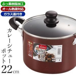 煮込み鍋 カレー鍋 シチュー鍋 IH対応 フッ素加工 ガラス蓋付き 22cm
