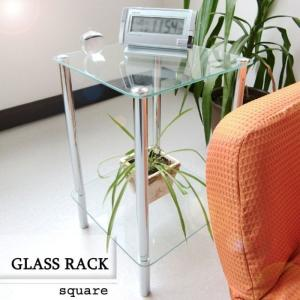 サイドテーブル ガラス おしゃれ 小型テーブル シンプル テーブル / ガラスラック 正方形|miyaguchi