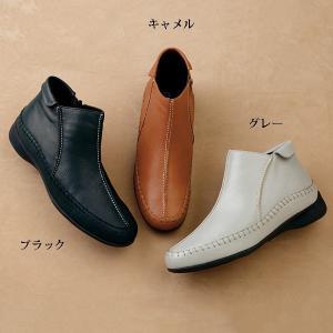 3E サイドファスナー山羊革アンクルブーツ50代 60代 70代 ファッション / シニアファッション / ミセスファッション|miyako385|02