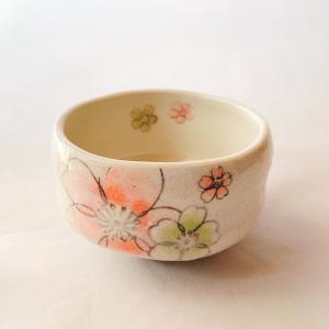 送料無料 抹茶茶碗 小茶碗 豊窯作【花模様】はなもよう|miyaoen