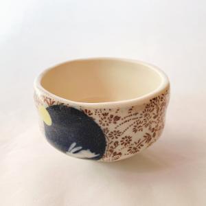 送料無料 抹茶茶碗 小茶碗 豊窯作【月うさぎ】|miyaoen