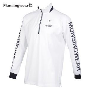 ゴルフハーフジップシャツ長袖 マンシングウェア ゴルフウエア ジップアップシャツ MGMPJB04 WH ホワイト 送料無料 LLサイズ|miyaspo
