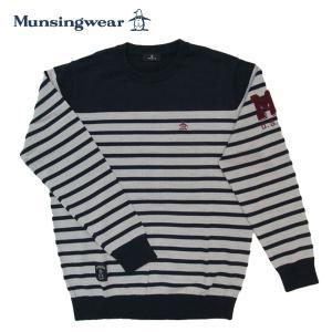 ゴルフセーター マンシングウェア ゴルフウエア 丸首セーター MGMSJL06 NVWH ネイビー×ホワイト 送料無料 Lサイズ|miyaspo