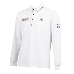 ゴルフポロシャツ長袖 ルコック ゴルフウエア ドライ鹿の子長袖シャツ QGMQJB06 WH ホワイト 3Lサイズ|miyaspo