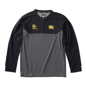 ラグビーウエア カンタベリー Tシャツ ロングスリーブ パフォーマンスティ RP40533 CG チャコールグレー×ブラック|miyaspo