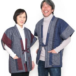 久留米絣を想わせる雰囲気の半袖型のわた入れはんてん(どてら)をお探しの方に、わた入れはんてんの老舗で...