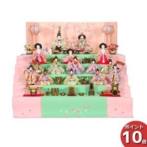 人形 雛人形 ひな人形 5段飾り 春のかおり 60×50×53cm 毛氈 20cm三曲本装屏風「刺繍滝桜」 R3-5004 段飾り 雛祭り|miyazakiuchiyamakagu