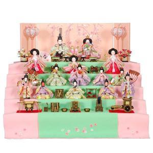 人形 雛人形 ひな人形 5段飾り 春のかおり 60×50×53cm 毛氈 20cm三曲本装屏風「刺繍滝桜」 R3-5004 段飾り 雛祭り|miyazakiuchiyamakagu|02