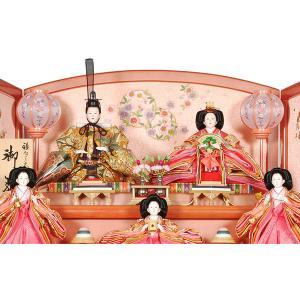 雛人形 ひな人形 三段飾り 五人飾り 節句人形 初節句 27号×3段 パールピンク塗 辻ヶ花 R3-3012 miyazakiuchiyamakagu 02