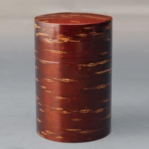 天然木製 桃皮 茶筒 漆塗り|miyoshi-ya