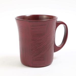 天然木製 羽反型 マグカップ 刷毛目根来 漆塗り|miyoshi-ya