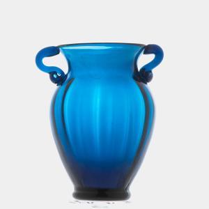 ガラス花瓶 ダブルイヤー ブルー フラワーベース 小|miyoshi-ya