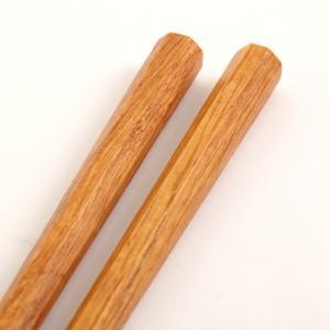 天然木製 男気箸 八角 栗 23.5cm 漆塗り|miyoshi-ya