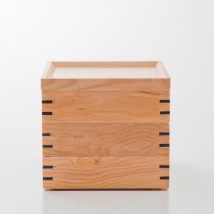 天然木製 三段重箱 スクエア 白木 小 大型 弁当箱 おしゃれ 3段 お重箱 かわいい おせち 正月...