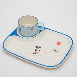 ミッキー キッズ角プレート 2P バルーン ディズニー ミッキーマウス キッズ食器セット 2点セット miyoshi-ya