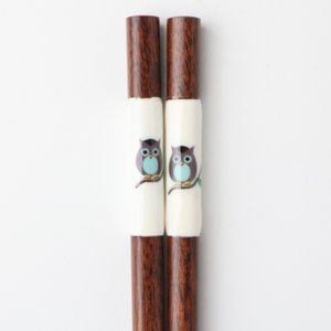 天然木製 フクロウ箸 23cm miyoshi-ya