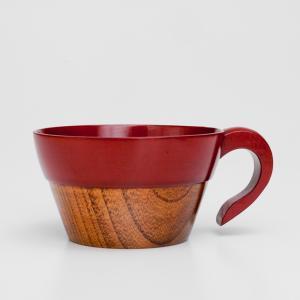 天然木製 スタッキング スープカップ 朱 漆塗り|miyoshi-ya