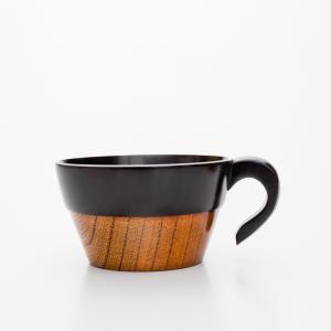 天然木製 スタッキング スープカップ 黒 漆塗り|miyoshi-ya