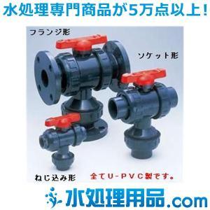旭有機材工業 三方ボールバルブ23型 U-PVC製  ねじ込み形 15A V23LVUENJ015|mizu-syori
