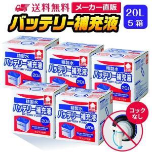 バッテリー補充液 精製水(純水) 大容量 20L入り コックなし 5箱まとめ買い 送料無料 メーカー:サンエイ化学|mizu-syori