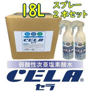 弱酸性次亜塩素酸水CELAキュービテナー18L + 300mlスプレーボトル2本セット【店舗・会社宛配送商品】 mizudamashii