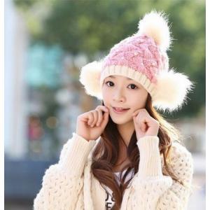 82cf8f5cfe88f ニット帽 ボンボン ポンポン レディース 防寒 帽子 暖かい ファー 大人 女性用 秋冬 かわいい おしゃれ ふんわり 小顔効果