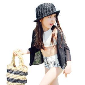 キッズ 水着 女の子 ビキニ ジュニア セパレート 4点セット 長袖ラッシュガード ハイウエスト  水泳帽子 子供用 こども 女児 女子 水遊び 90 95 100 110 120cm