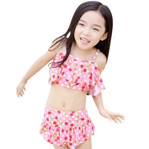 子供 水着 女の子 セパレート キッズ ビキニ 2点セット さくらんぼ柄 キュート フリル 子供 女...