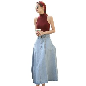 レディース デニム スカート ロング マキシスカート 大きいサイズ 大人 かわいい おしゃれ きれいめ S M L XL