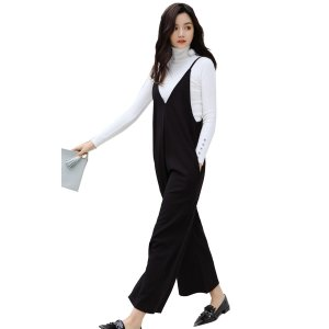 サロペット オーバーオール レディース オールインワン ワイドパンツ ゆったり らくちん 黒 かわいい ロンパース|mizuki-store