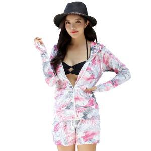 ラッシュガード レディース 体型カバー 2点セット プール フィットネス ママ 大きいサイズ 水着の上に着る服 フード 水着|mizuki-store