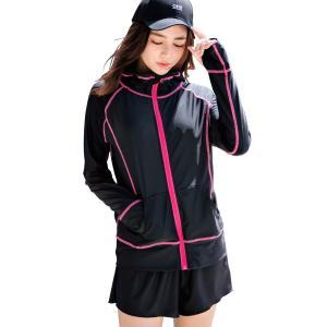 ラッシュガード レディース 長袖 おしゃれ 水着の上に着る服 体型カバー 水陸両用 無地 日焼け対策 伸縮性 ジップアップ 指穴付き|mizuki-store