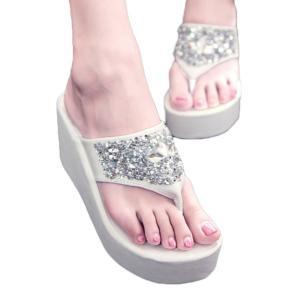 ビーチサンダル レディース 厚底サンダル 痛くない おしゃれ 歩きやすい 履きやすい ヒール ウェッジソール ビーサン 女の子 美脚 キラキラ|mizuki-store