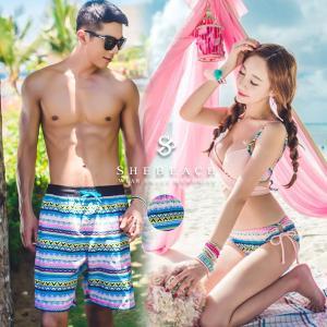 メンズ サーフパンツ ビーチパンツ 海パン 大人 韓国ファッションブランド SHEBEACH正規品 かっこいい ポケット付き mizuki-store