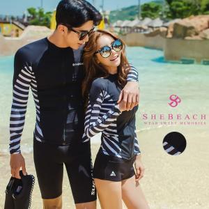 ラッシュガード メンズ 長袖 ジップアップ 水着用 大人 韓国ファッションブランド SHEBEACH正規品 モノトーン コーデ mizuki-store