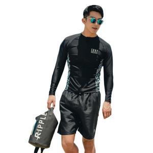 水着 メンズ 長袖 ラッシュガード ハーフパンツ 2点セット 韓国ファッションブランド SHEBEACH正規品 体型カバー 大人 リゾート mizuki-store
