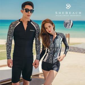 水着 メンズ ハーフパンツ 長袖 ラッシュガード 2点セット 韓国ファッションブランド SHEBEACH正規品 ビーチパンツ 海パン mizuki-store
