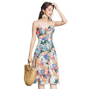 サマードレス レディース Aライン ノースリーブ 単品 韓国 ファッション バックシャン シービーチ...