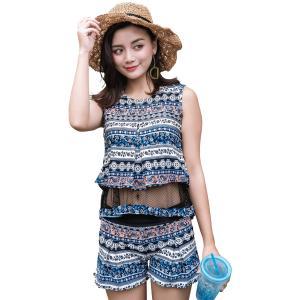タンキニ 水着 レディース ビキニ 4点セット 体型カバー 水着の上に着る服 大きいサイズ ショートパンツ ミセス 水着 レディース|mizuki-store