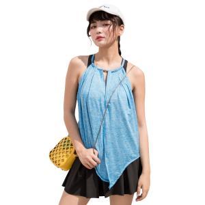 水着 タンキニ 体型カバー レディース ハイネック  トップス ブラ パンツ 3点セット バッククロス 大きいサイズ ママ水着|mizuki-store