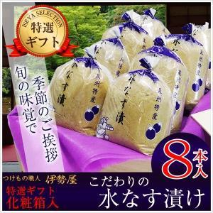 父の日 水なす漬け特選8個化粧箱入り 送料無料 贈答用包装 土佐特産生姜付|mizunasuzukehannbai