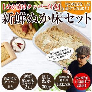 ぬか床セット 初心者向けぬか漬けしおり 旬ぬか漬け1品 足しぬか300g 旨味の素 タッパー付き|mizunasuzukehannbai